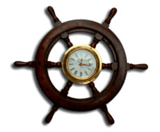 Wooden Ship Wheel Clock