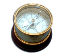Clock Compass with Wood Base