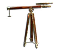 Wood Double Barrel Stand Telescope