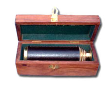 Leather Three-fold Telescope in Box