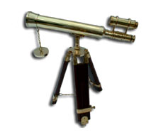 Brass Double Barrel Stand Telescope
